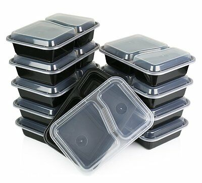 Heim Concept 10 Pack Meal Prep Container 2 Compartments Bento Box Food Storage