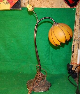 Vtg Antique Unique Ornate Art Deco Large Flower Desk Lamp Table Original Shade F
