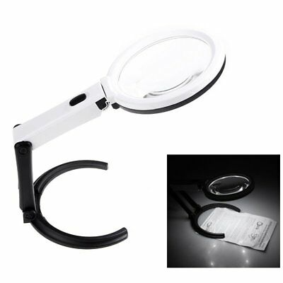 5X Illuminated Magnifying Glass Magnifier Foldable Stand 10 Light LED Table LAMP