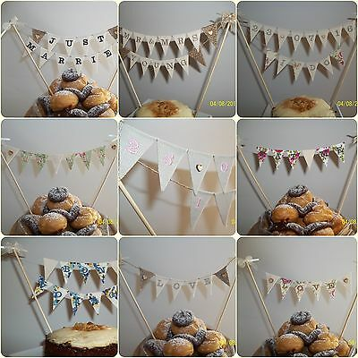 Embroidered Wedding Cake Bunting Topper - Choose message & design. Vintage Chic