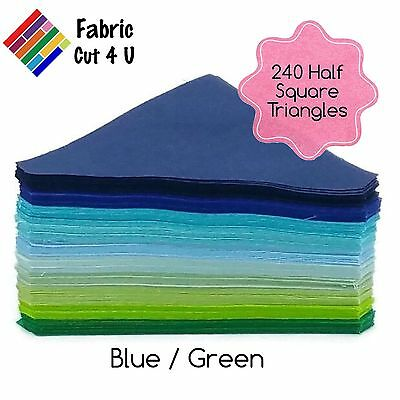 "240 Blue Green HST, Half Square Triangles, 4.5"" finished, 10 Colours, Cotton"