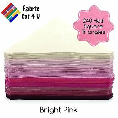 "240 Bright Pink HST, Half Square Triangles, 4.5"" finished, 10 Colours, Cotton"