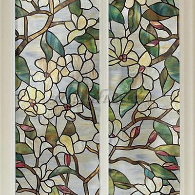 45x100cm 3D Magnolia Flower Static Cling Glass Window Film Home Decor Stickers