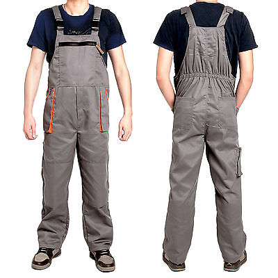 Mens Work Wear Bib and Brace Overalls Dungarees with Kneepad Pockets XL XXL 3XL