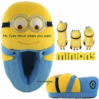 Girls Boys 3D Dave Minions Despicable Me Kids Novetly Plush Soft Toy Slippers