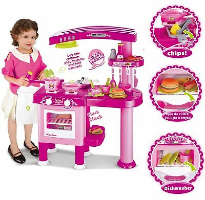 Vinsani Deluxe Kitchen Pretend Play Kitchen Cooking Toy For Childrens Girls Pink