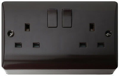 Double Wall Socket on Pattress in Brown Bakelite 240V 13A by Art Deco Emporium