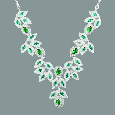 Sarotta Jewelry 18K White Gold Gp Green Emerald CZ Marquise Pendant Necklace