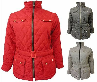 9f3dd473a03 Womens Collar Size Padded Plus Jacket Coat Belted Winter Quilted Pockets UK  8-26