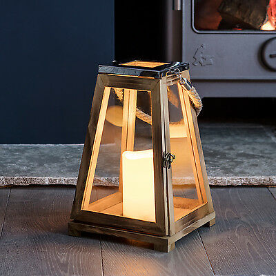 Trapeze Wooden Battery Operated LED Candle Decorative Lantern with Rope Handle