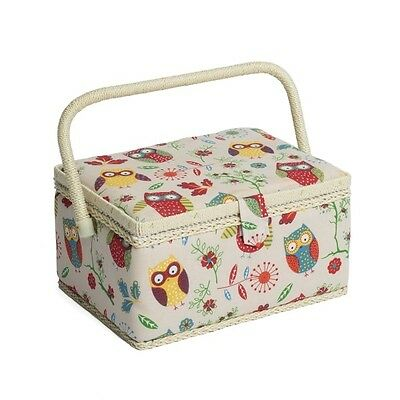 Flowery Chested Owls Value Medium Sewing Basket Craft