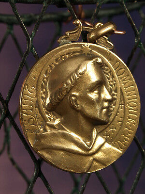 French Antique Bronze Religious Medal Pendant St Dominique Signed Tricard
