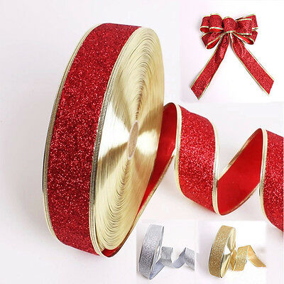 2M Glitter Ribbon Party Home Wedding DIY Christmas Tree Decoration Gift Wrapping