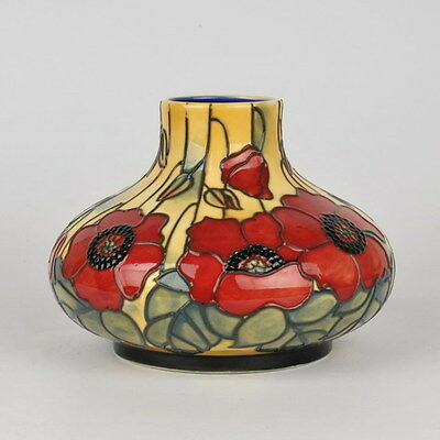 """Old Tupton Ware """"YELLOW POPPY"""" Hand Painted Tube Lined SQUAT VASE (6"""") TW1683"""