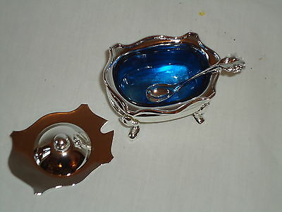 Silver Plated Mustard Salt Dish With Spoon Gift Boxed -Saccharin Pot sp517