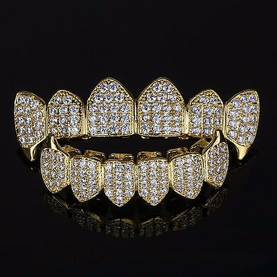 18K Gold Plated High Quality CZ Top Fang & Bottom Fang GRILLZ Mouth Teeth Grills