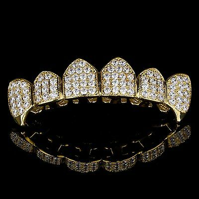 18K Gold Plated High Quality CZ Top Row Fang GRILLZ Mouth Teeth Grills