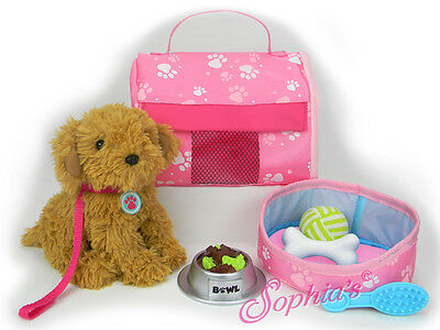 """Sophia's Puppy Dog Carrier & Accessories for 18"""" American Girl Doll 10 pc set"""