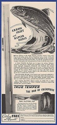 Vintage 1940 TRUE TEMPER Fly Fishing Rod RARE Old Print Ad
