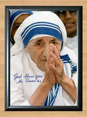 Mother Teresa Saint Calcutta Catholic Signed Autographed A4 Print Photo Poster