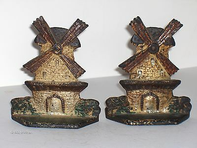 Pair Of Vintage Cast Iron Windmill Bookends 5 1/2'