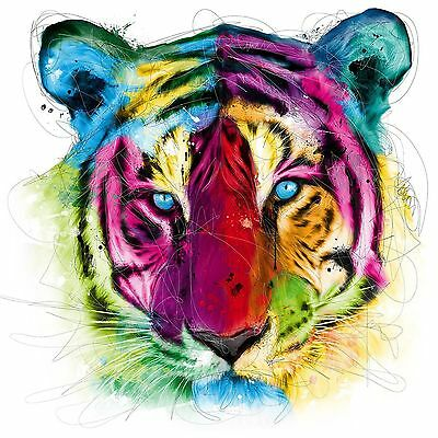 Tiger Face Head Colourful Abstract WALL ART CANVAS FRAMED OR POSTER PRINT