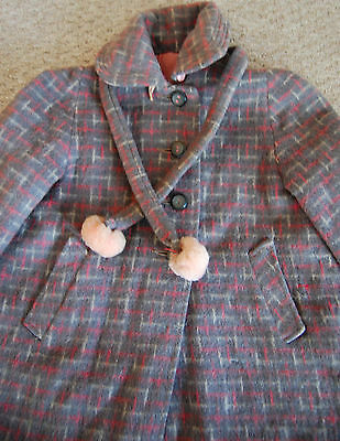 VINTAGE Girls SCHUSTER Plaid Wool Mohair Pea Coat Jacket 50s 60s Gray Pink 3T