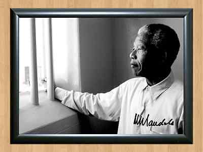 Nelson Mandela Prison Cell Memorabilia Signed Autographed A4 Print Photo Poster