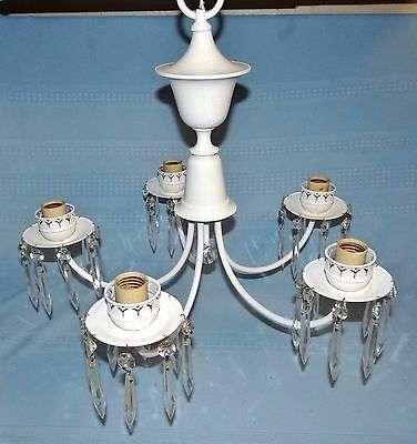 Vtg Hanging 5 Arm Chandelier w/ Prisms Ceiling Light Lamp Fixture Shabby Chic