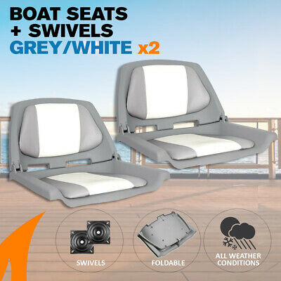 2 x Grey/White Boat Traveller Folding Boat Seats w/ Swivels