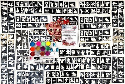GLITTER TATTOO KIT Christmas 300 stencils 12 Hol iridescent Uv glitters 3 glue