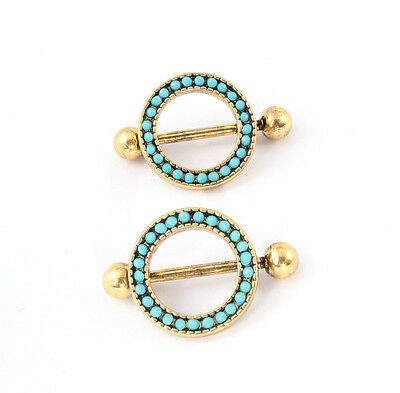 14G Pair of Antique Gold Plated Steel Barbell Nipple Shield Nipple Ring Piercing