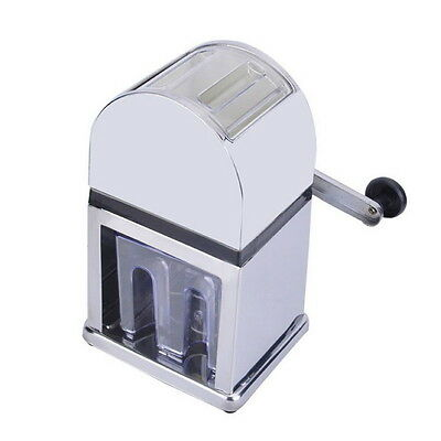 Home Bar Manual Ice Shaver Crusher ABS Stainless Steel Snow Cone Machine Maker ~