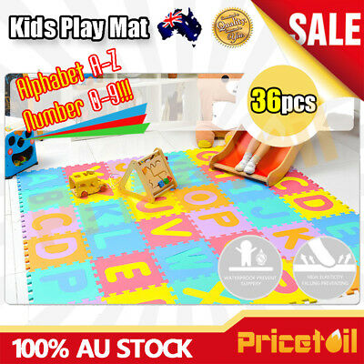 OZ 36pcs Kids Baby Alphabet & Number EVA Foam Floor Puzzle Safety Play Mat Rug
