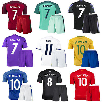 16/17 Boy Football Jersey Kit Short Sleeve Soccer Suit Youth Kids 3-12Y+Socks