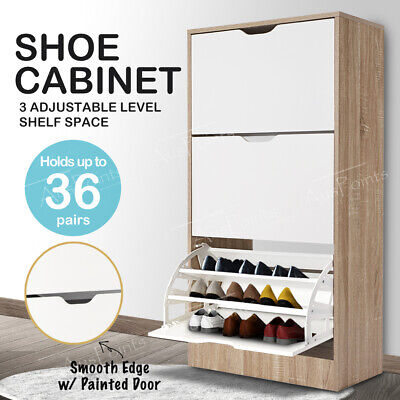 NEW 36 Pairs Shoe Cabinet 3 Painted Drawers Storage Shelf Wooden Rack Oak White