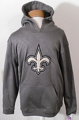NWT NFL Team Apparel New Orleans Saints Youth Boys Logo Hoodie L 14/16 Charcoal