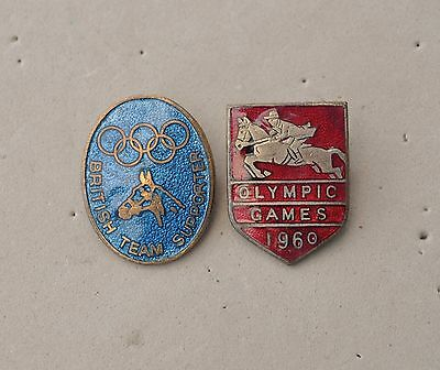 Vintage Olympic games SHow jumping pin badges 1960 & Supporters