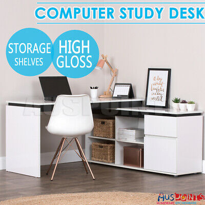 High Gloss Storage Desk Table Office Computer Home Cabinet Drawer Study White