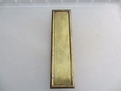 Vintage Brass Finger Plate Push Door Handle Architectural Antique Reeded Edge