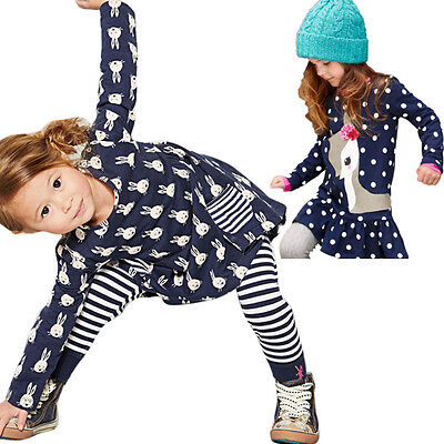 Baby Girl Kids Long Sleeve Tops T-Shirt Dress+Pants Leggings Clothes Outfits Set