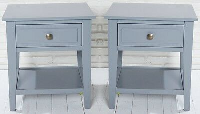 Set of 2: Bedside Table Night Stand Grey 1 Drawer retro chic Side Telephone NEW