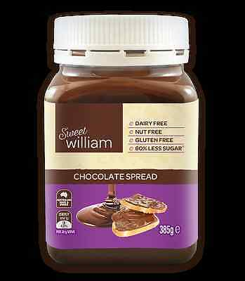 4 x Sweet William Chocolate Spread Nut Free 385g VEGAN CHOCOLATE