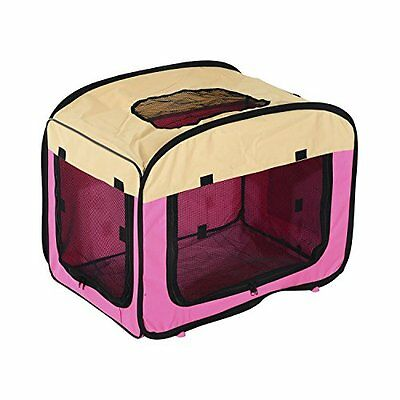 PawHut Folding Fabric Soft Pet Crate Dog Cat Travel Carrier Cage Kennel House M:
