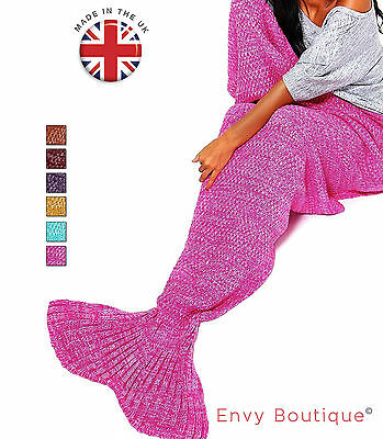 100% UK - Mermaid Tail Knitted Blanket Sofa Beach Quilt Rug Crochet Knit Lapghan