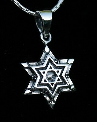 """Star of David Pendant & 18"""" Necklace,Sterling Silver Magen Charm,Judaica Jewelry"""