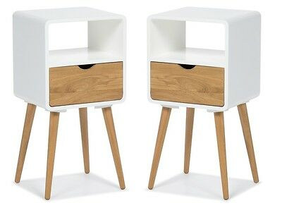 Set of 2: Bedside Table Nightstand Drawer White Retro Chic Side Tables Console