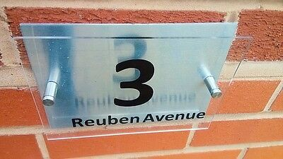 Modern House Sign Plaque Door Number Street Glass Effect Acrylic Aluminium Na