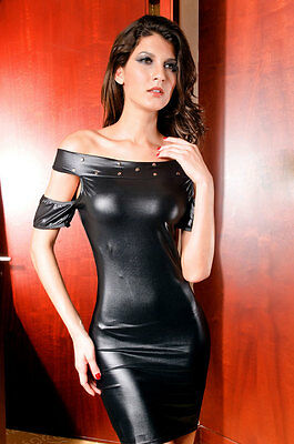 ELEGANTES SHINY WETLOOK PARTYKLEID CLUBWEAR DISCO one size S-M