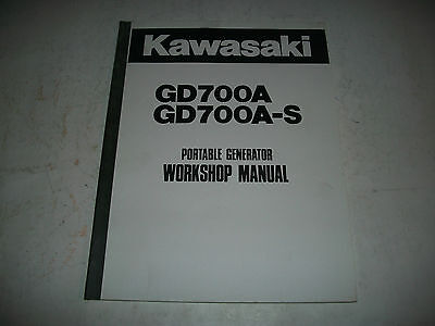 Official Kawasaki Gd700A Gd700A-S Portable Generator Workshop Manual More Listed